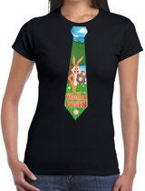 Paashaas stropdas vrolijk Pasen t-shirt zwart voor dames XL