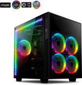 anidees AI Crystal Cube AR V3 Cube temmpred glass EATX / ATX PC Gaming behuizing met 5 RGB PWM Fans / 2 LED-Streifen - Schwarz RGB