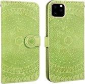 Let op type!! Voor iPhone 11 Pro ingedrukt afdrukken patroon horizontale Flip PU lederen draagtas  met houder & kaartsleuven & portemonnee & & Lanyard (groen)