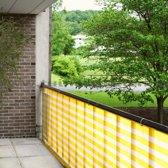 Balkondoek / balkonscherm - 5 meter x 90 cm - Geel-Wit
