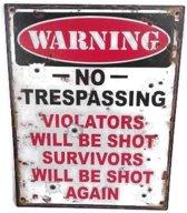 Metalen wandbord waarschuwing geen toegang - no trespassing - rood creme zwart - 20 x 25 cm