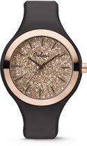 Colori Macaron Sparkle 5 COL515 Horloge - Siliconen Band - Ø 44 mm - Zwart / Rosékleurig