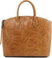 0d54c37bbb2 Tuscany Leather Dames Handtas Gaia - Cognac - Lederen handtas met floral  design - TL141670