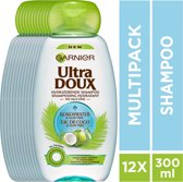 Garnier Ultra Doux Kokoswater & Aloe Vera Shampoo - 12 x 300 ml - Droog Haar - Voordeelverpakking