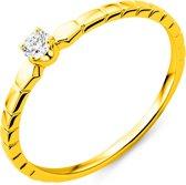 Majestine 9 Karaat Solitair Ring Geelgoudkleurig (375) Met Diamant 0.08ct Maat 56