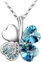 Klaver 4 Hart ketting Licht-Blauw, Valentijn