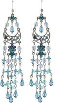 Oorbellen lang met hangers blauw