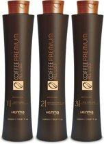 Honma Tokyo Coffee Premium Japanse Keratine Behandeling Shampoo&Treatment&Masker Kit 3x1000ml
