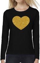 Hart van goud glitter t-shirt long sleeve zwart voor dames- zwart shirt met lange mouwen en gouden hart voor dames 2XL