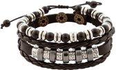 Zwart gevlochten leren armband uit Tibet met kralen