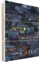 Het district Santa Ana Hill in de Ecuadoraanse stad Guayaquil Vurenhout met planken 40x60 cm - Foto print op Hout (Wanddecoratie)