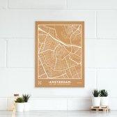Miss Wood - City Map kurken stadskaart  - 60x45cm (L) - Amsterdam - Wit