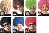 12 stuks: Pruik Afro in 7 kleuren - assorti