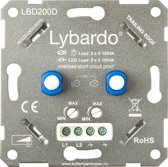 Lybardo ITEC 2x 5-100W LED Duo Dimmer - Fase Afsnijding - Universeel - Inbouw