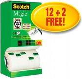Value Pack: 12 x Scotch® Magic™ Tape, Kartonnen Toren, 19 mm x 33 m + 2 Rol GRATIS