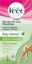Veet Easy-Gelwax Ontharingsstrips Benen & Lichaam - Droge Huid - 40 stuks