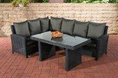 Clp Wicker Poly rotan lounge dining set BERMEO, hoekbank + eettafel 140 x 80 cm, 6 plaatsen - kleur van 5 mm rotan zwart overtrek antraciet