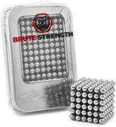 Brute Strength -  Magneetballetjes - Zilver (216 balletjes | 5mm | magneet balletjes magneten magnetische ballen magnetic balls in metalen geschenkverpakking voor whiteboards en magneetborden)