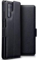Huawei P30 Pro hoesje, MobyDefend slim-fit echt leren bookcase, Zwart - Telefoonhoesje geschikt voor: Huawei P30 Pro