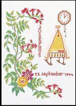 Thea Gouverneur Borduurpakket 869A Geboortetegel September - Aida stof 100% katoen