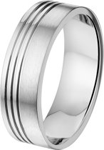 The Jewelry Collection Ring A511 - 7 mm - Zonder Cz - Staal