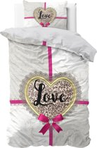 Sleeptime All you need is Love - Dekbedovertrek - Eenpersoons - 140x200/220 + 1 kussensloop 60x70 - Zand