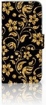 Honor 10 Lite Boekhoesje Design Gouden Bloemen