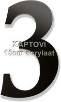 Xaptovi Huisnummer 3 Materiaal: Acrylaat - Hoogte: 15cm - Kleur: Zwart