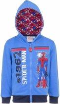 Spiderman sweater met rits blauw 104