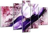 Glasschilderij Tulpen   Paars, Wit   170x100cm 5Luik   Foto print op Glas    F003283