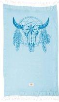 Mycha Ibiza – Strandlaken – strandhanddoek – kikoy – skull cow – blauw – 100% katoen – badstof