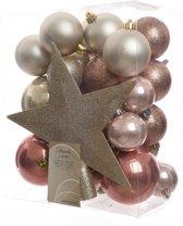 Kerstballen inclusief Piek, Parel-Roze 33 stuks