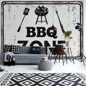 Fotobehang Retro Sign Bbq Zone | V4 - 254cm x 184cm | 130gr/m2 Vlies