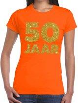 50 jaar goud glitter verjaardag t-shirt oranje dames - verjaardag / jubileum shirts XL