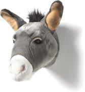 Wild&Soft- Wanddecoratie dierenkop pluche ezel grijs