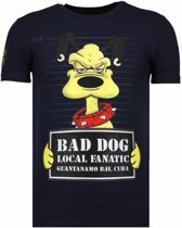 Local Fanatic Bad Dog - Rhinestone T-shirt - Navy - Maten: L