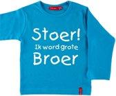 T-shirt Stoer! Grote broer | Lange mouw | Aqua | Maat 98/104