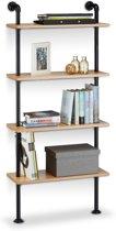 relaxdays Industrieel wandrek 4 etages - retro boekenrek - zwart - boekenplank - keukenrek