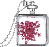 Fako Bijoux® - Ketting - Gedroogde Bloem - Vierkant - Zilverkleurig - Paars