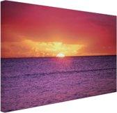 Zonsondergang over paarse zee Canvas 120x80 cm - Foto print op Canvas schilderij (Wanddecoratie)