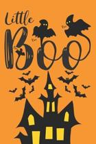 Little Boo: Funny Halloween Gifts for Kids: Black and Orange Castle Bats and Ghosts Notebook, Blank Lined Journal