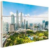 Skyline Petronas Towers Kuala Lumpur Hout 80x60 cm - Foto print op Hout (Wanddecoratie)