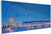 London Eye bij nacht Glas 30x20 cm - Foto print op Glas (Plexiglas wanddecoratie)
