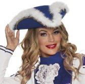 Dansmarieke hoed blauw/wit voor dames