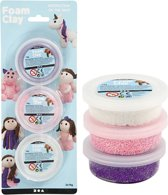 Foam Clay® Sets, 3x14 gr, wit, paars, roze