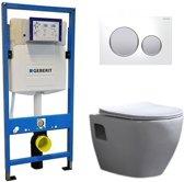 Geberit UP 320 Toiletset – Inbouw WC Hangtoilet Wandcloset – Daley Flatline Geberit Sigma-20 Wit Mat Chroom
