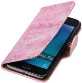 Roze Mini Slang booktype cover hoesje voor Samsung Galaxy J1 Nxt