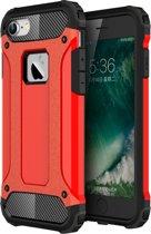 iPhone 7 - 8 - Hybrid Tough Armor-Case Bescherm-Cover Hoes - Rood