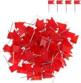 Punaises Voor Prikbord - 50 stuks - Rood - Vlag - Speld - Knutselpakket - Wereldkaart - Kantoor