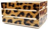Houten Fietskrat Luipaard Print Furry